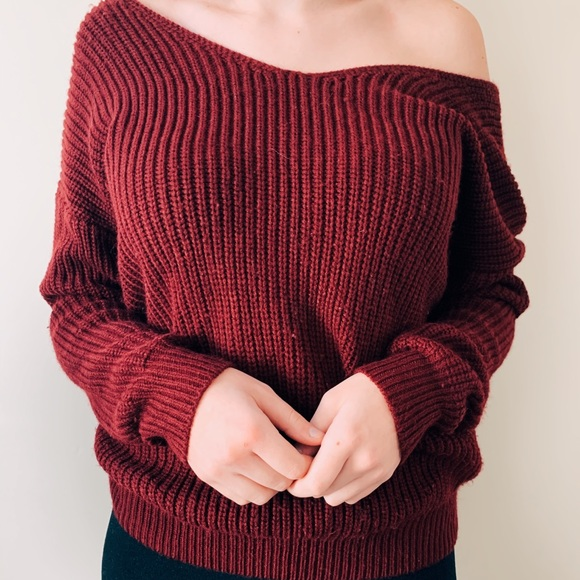 Off-Shoulder Knotted Back Sweater